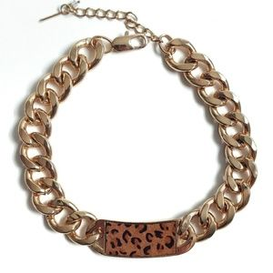 Leopard Gold Link Choker Necklace